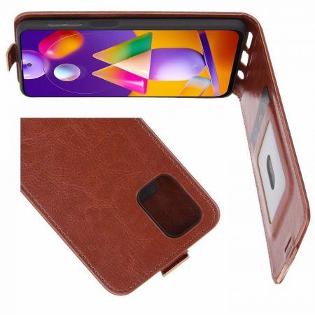 Вертикальный флип чехол книжка с откидыванием вниз для Samsung Galaxy M31s - Коричневый
