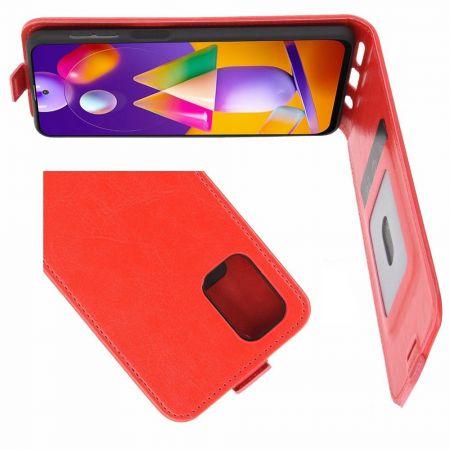 Вертикальный флип чехол книжка с откидыванием вниз для Samsung Galaxy M31s - Красный
