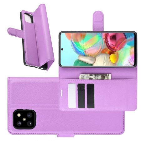 Вертикальный флип чехол книжка с откидыванием вниз для Samsung Galaxy Note 10 Lite - Фиолетовый