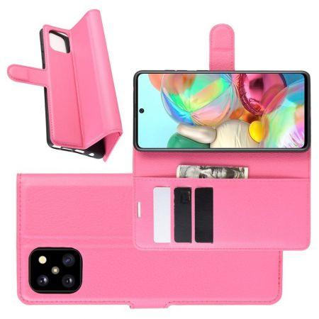 Вертикальный флип чехол книжка с откидыванием вниз для Samsung Galaxy Note 10 Lite - Розовый