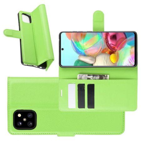 Вертикальный флип чехол книжка с откидыванием вниз для Samsung Galaxy Note 10 Lite - Зеленый