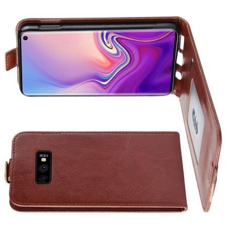 Вертикальный флип чехол книжка с откидыванием вниз для Samsung Galaxy S10e - Коричневый