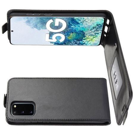 Вертикальный флип чехол книжка с откидыванием вниз для Samsung Galaxy S20 FE / S20 FE - Черный