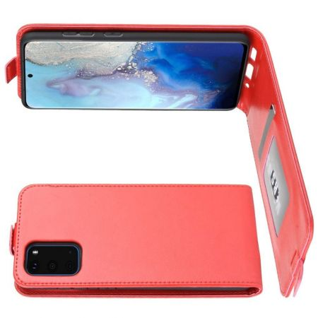Вертикальный флип чехол книжка с откидыванием вниз для Samsung Galaxy S20 - Красный