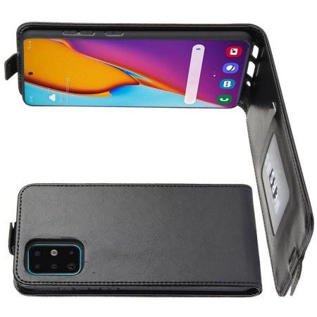 Вертикальный флип чехол книжка с откидыванием вниз для Samsung Galaxy S20 Plus - Черный