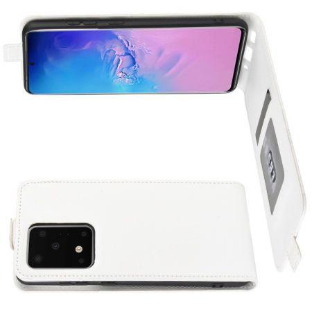 Вертикальный флип чехол книжка с откидыванием вниз для Samsung Galaxy S20 Ultra - Белый