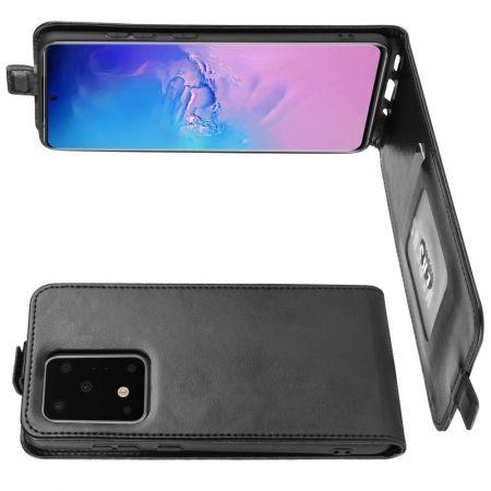 Вертикальный флип чехол книжка с откидыванием вниз для Samsung Galaxy S20 Ultra - Черный