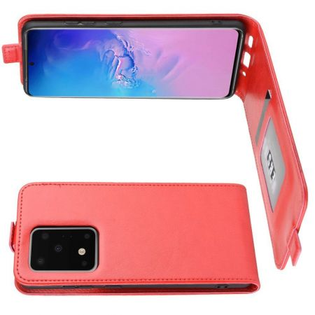 Вертикальный флип чехол книжка с откидыванием вниз для Samsung Galaxy S20 Ultra - Красный