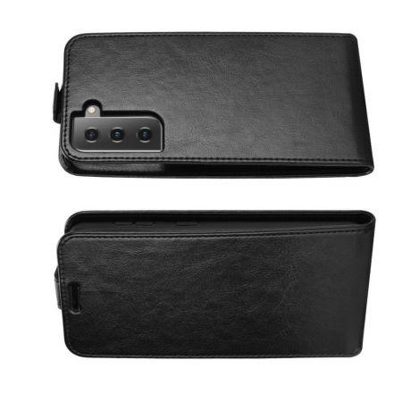 Вертикальный флип чехол книжка с откидыванием вниз для Samsung Galaxy S21 - Черный