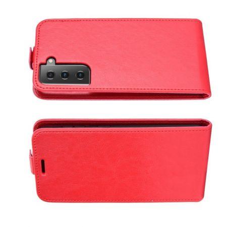 Вертикальный флип чехол книжка с откидыванием вниз для Samsung Galaxy S21 - Красный