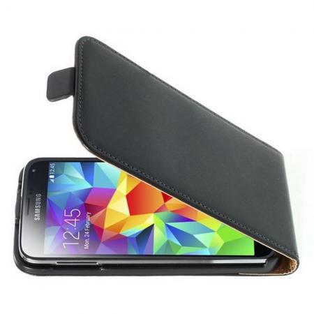 Вертикальный флип чехол книжка с откидыванием вниз для Samsung Galaxy S5 - Черный