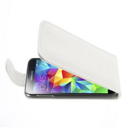 Вертикальный флип чехол книжка с откидыванием вниз для Samsung Galaxy S5 - Белый