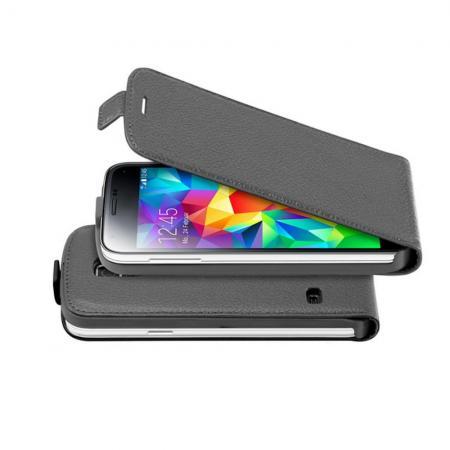 Вертикальный флип чехол книжка с откидыванием вниз для Samsung Galaxy S5 Mini - Черный