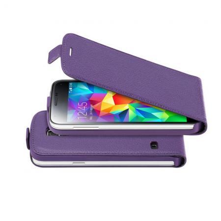 Вертикальный флип чехол книжка с откидыванием вниз для Samsung Galaxy S5 Mini - Фиолетовый