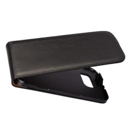 Вертикальный флип чехол книжка с откидыванием вниз для Samsung Galaxy S6 - Черный