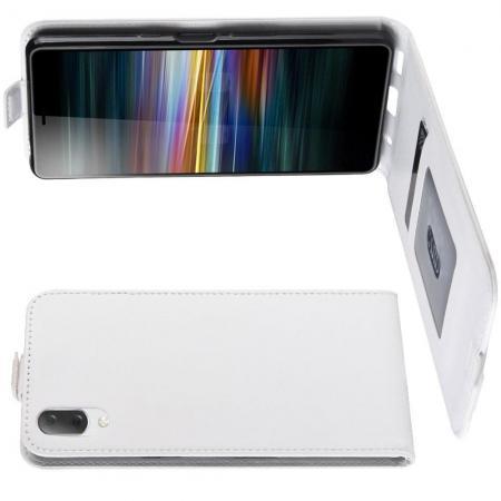 Вертикальный флип чехол книжка с откидыванием вниз для Sony Xperia L3 - Белый