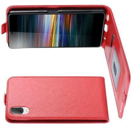 Вертикальный флип чехол книжка с откидыванием вниз для Sony Xperia L3 - Красный
