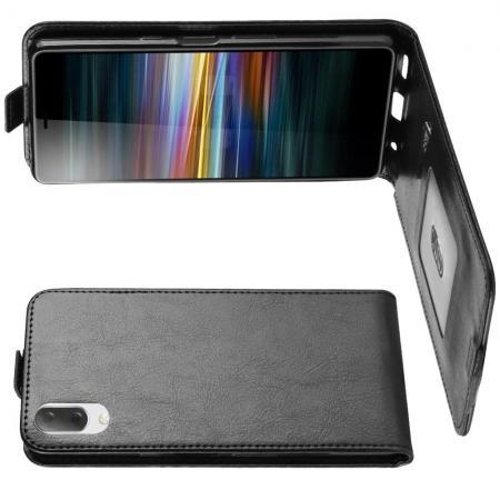 Вертикальный флип чехол книжка с откидыванием вниз для Sony Xperia L3 - Черный
