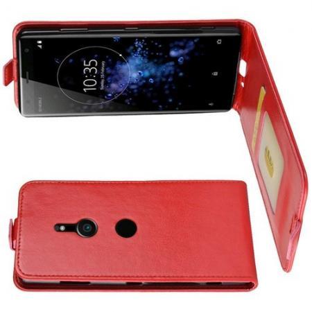 Вертикальный флип чехол книжка с откидыванием вниз для Sony Xperia XZ3 - Красный