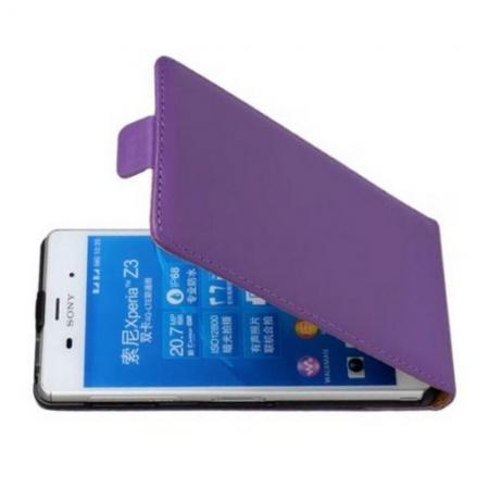 Вертикальный флип чехол книжка с откидыванием вниз для Sony Xperia Z3 - Фиолетовый