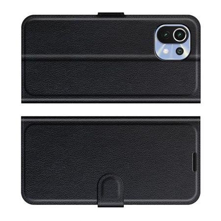 Вертикальный флип чехол книжка с откидыванием вниз для Xiaomi Mi 11 Lite - Черный