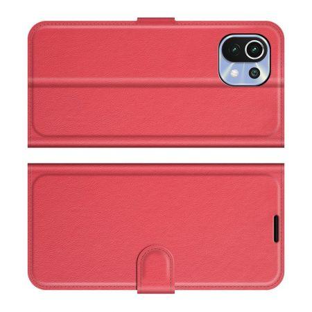 Вертикальный флип чехол книжка с откидыванием вниз для Xiaomi Mi 11 Lite - Красный
