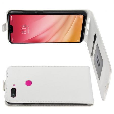 Вертикальный флип чехол книжка с откидыванием вниз для Xiaomi Mi 8 Lite - Белый