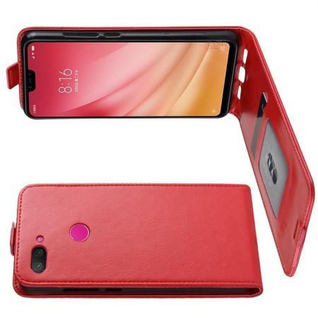 Вертикальный флип чехол книжка с откидыванием вниз для Xiaomi Mi 8 Lite - Красный