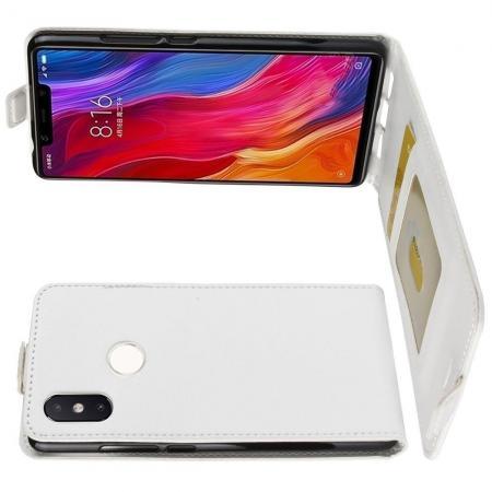 Вертикальный флип чехол книжка с откидыванием вниз для Xiaomi Mi 8 SE - Белый