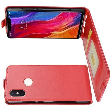 Вертикальный флип чехол книжка с откидыванием вниз для Xiaomi Mi 8 SE - Красный