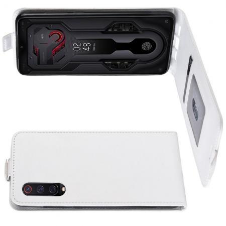 Вертикальный флип чехол книжка с откидыванием вниз для Xiaomi Mi 9 - Белый