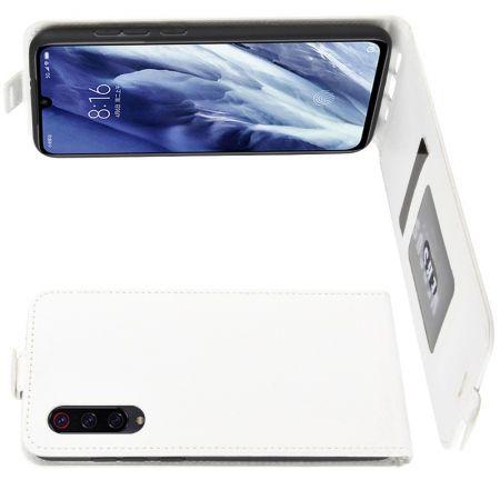 Вертикальный флип чехол книжка с откидыванием вниз для Xiaomi Mi 9 Pro - Белый