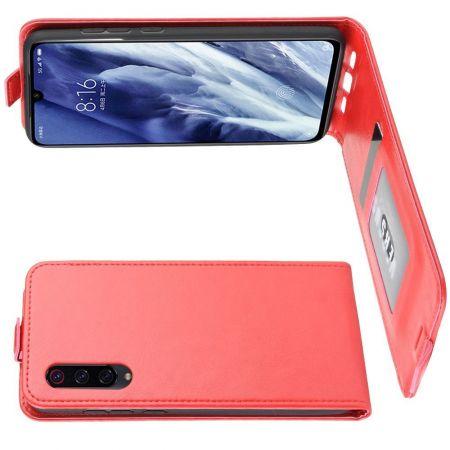 Вертикальный флип чехол книжка с откидыванием вниз для Xiaomi Mi 9 Pro - Красный