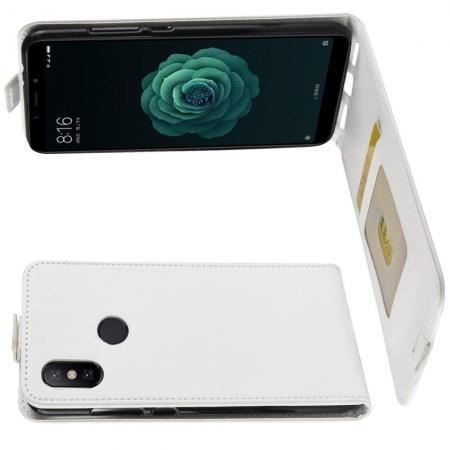 Вертикальный флип чехол книжка с откидыванием вниз для Xiaomi Mi A2 / Mi 6X - Белый
