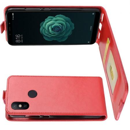 Вертикальный флип чехол книжка с откидыванием вниз для Xiaomi Mi A2 / Mi 6X - Красный