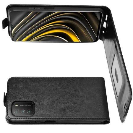 Вертикальный флип чехол книжка с откидыванием вниз для Xiaomi Poco M3 - Черный