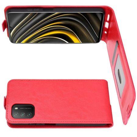 Вертикальный флип чехол книжка с откидыванием вниз для Xiaomi Poco M3 - Красный