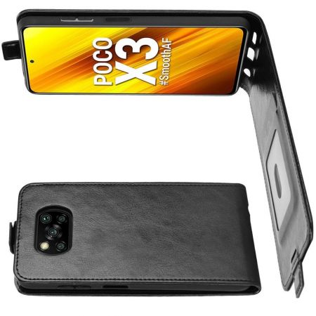 Вертикальный флип чехол книжка с откидыванием вниз для Xiaomi Poco X3 NFC / X3 NFC - Черный