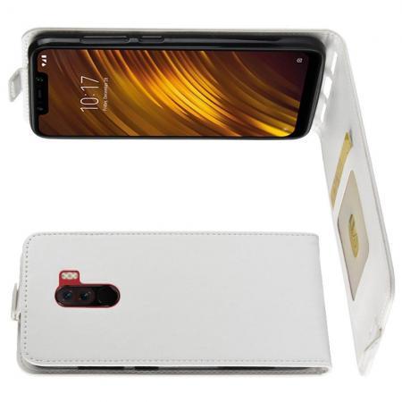 Вертикальный флип чехол книжка с откидыванием вниз для Xiaomi Pocophone F1 - Белый