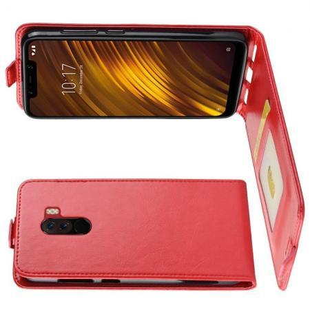 Вертикальный флип чехол книжка с откидыванием вниз для Xiaomi Pocophone F1 - Красный