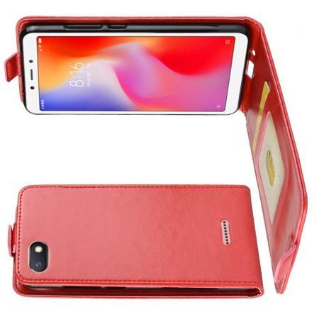Вертикальный флип чехол книжка с откидыванием вниз для Xiaomi Redmi 6A - Красный