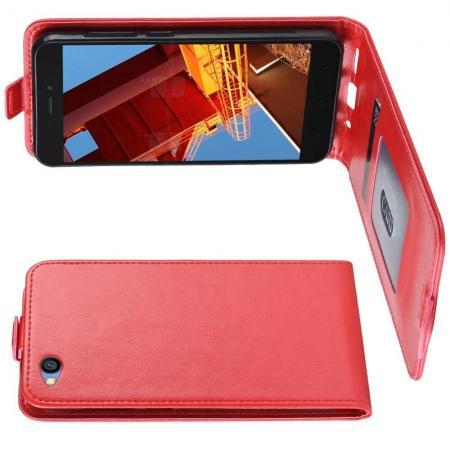Вертикальный флип чехол книжка с откидыванием вниз для Xiaomi Redmi Go - Красный