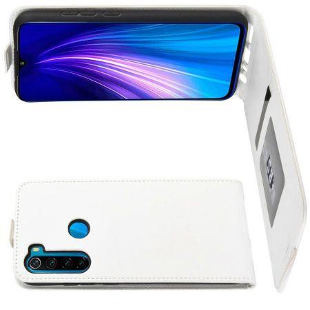 Вертикальный флип чехол книжка с откидыванием вниз для Xiaomi Redmi Note 8T - Белый