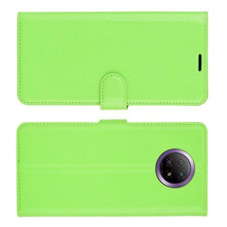 Вертикальный флип чехол книжка с откидыванием вниз для Xiaomi Redmi Note 9T - Зеленый