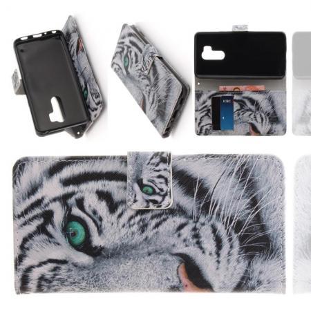 Защитный Флип Чехол для LG G7 ThinQ в Виде Книжки с Рисунком Тигр