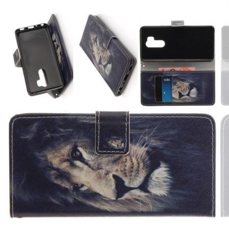 Защитный Флип Чехол для LG G7 ThinQ в Виде Книжки с Рисунком Лев