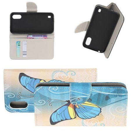 Защитный Флип Чехол для Samsung Galaxy A01 в Виде Книжки с Рисунком Голубая Бабочка