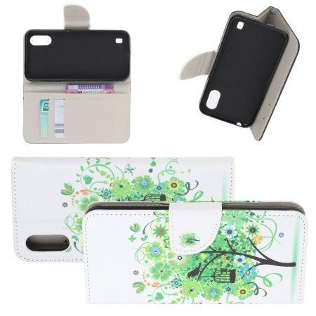Защитный Флип Чехол для Samsung Galaxy A01 в Виде Книжки с Рисунком Зеленое Дерево