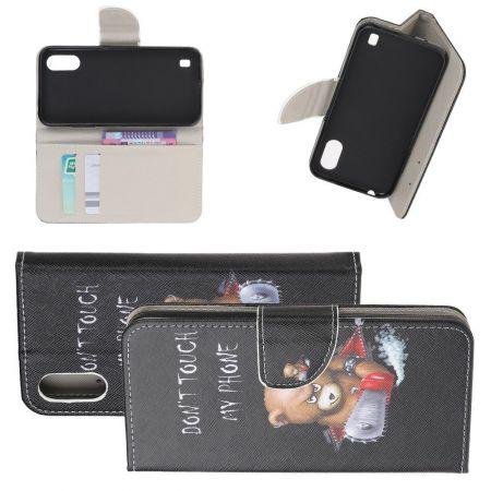 Защитный Флип Чехол для Samsung Galaxy A01 в Виде Книжки с Рисунком Злой Мишка