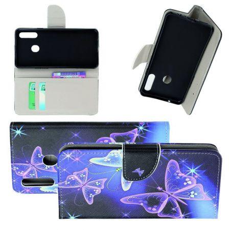 Защитный Флип Чехол для Samsung Galaxy A20s в Виде Книжки с Рисунком Фиолетовые Бабочки